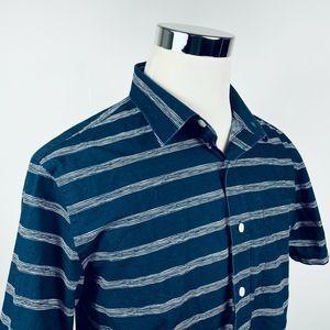 Jack Spade Mens Large Shirt Navy White Striped